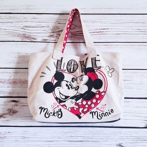 Disney Mickey and Minney LOVE Canvas Tote Bag